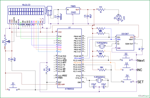 small resolution of 8051 digital clock circuit diagram