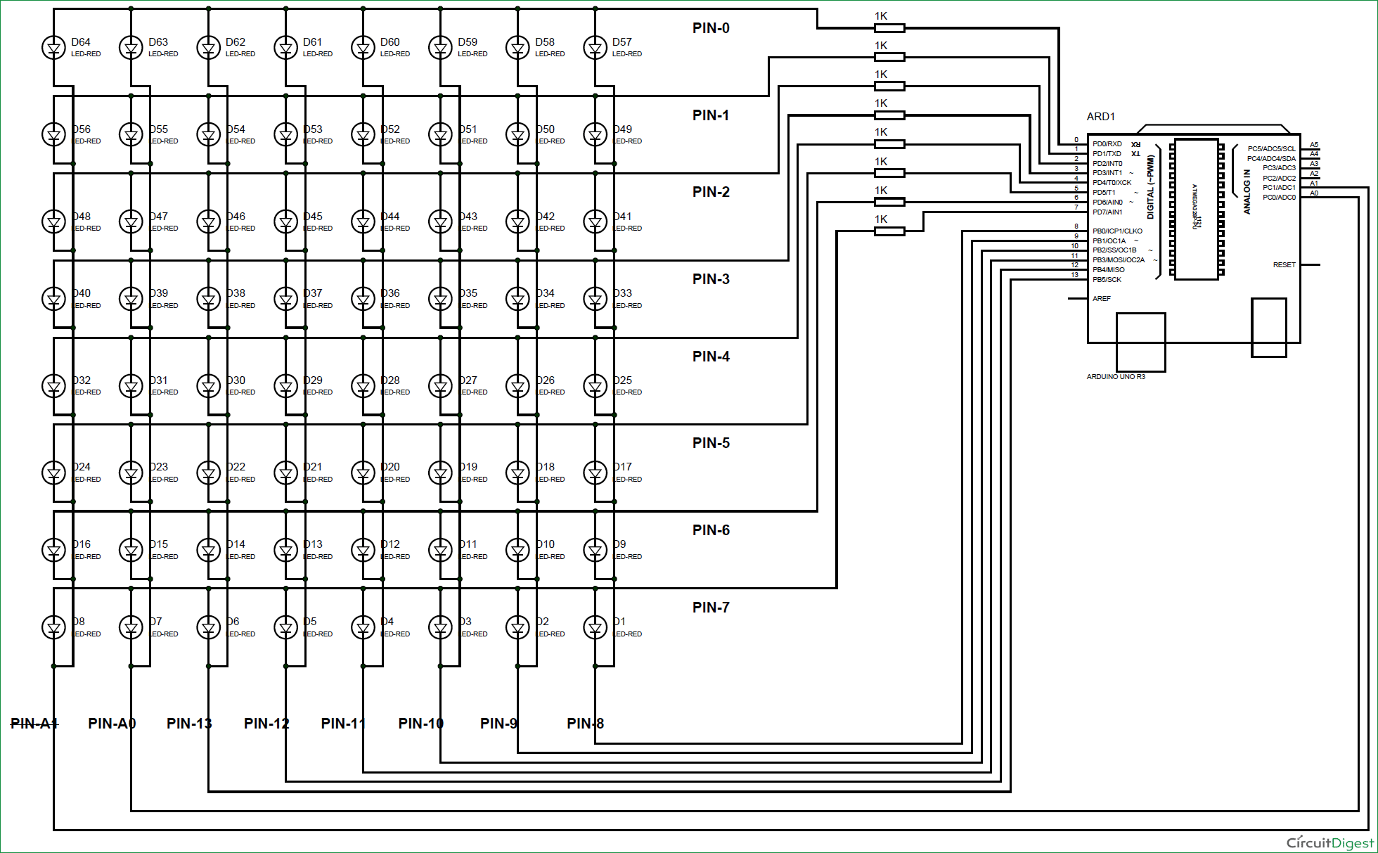 hight resolution of arduino 8x8 led matrix scrolling display circuit diagram