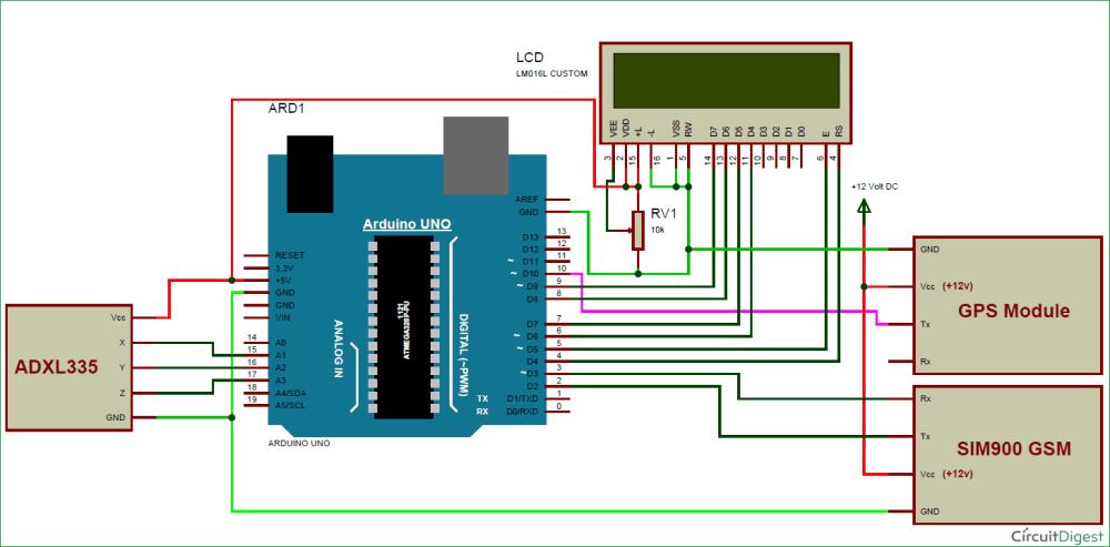 medium resolution of arduino vehicle accident alert system circuit diagram