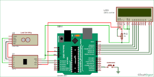 Arduino Weight Measurement Project with Load Cell and HX711 Module Interfacing: Circuit Diagram