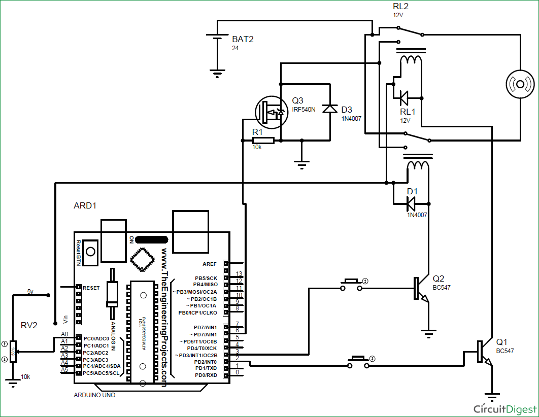 Arduino Uno R2 Circuit Diagram