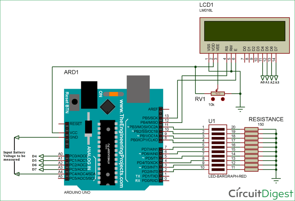 medium resolution of battery voltage indicator circuit diagram using arduino and led bar graph