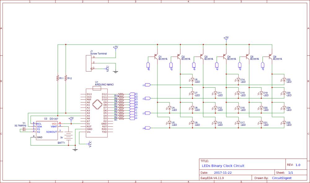 medium resolution of led binary clock circuit using arduino clock gear schematic binary clock circuit diagram