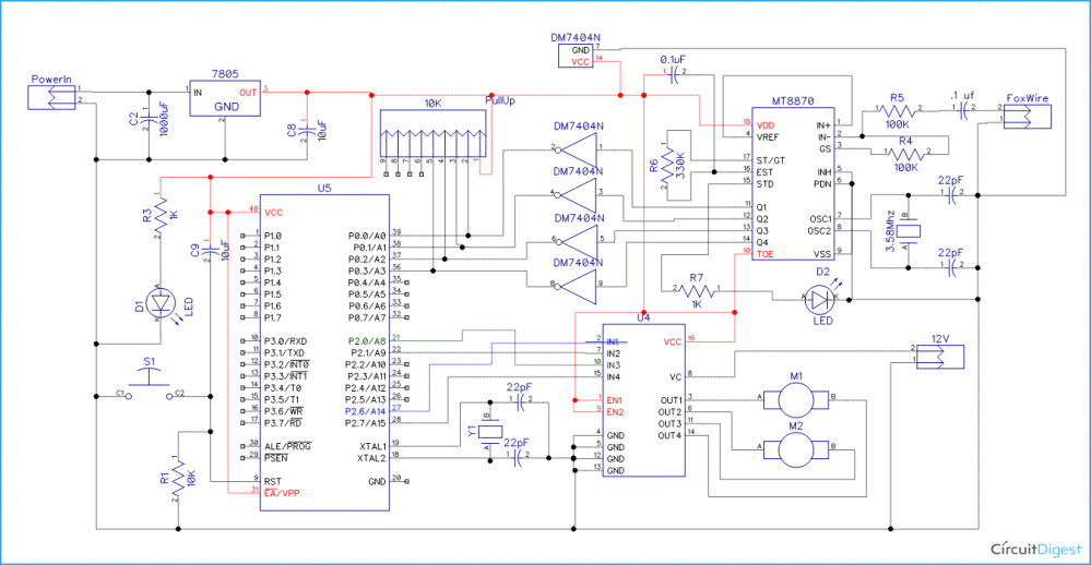 medium resolution of cell phone controlled robot circuit diagram