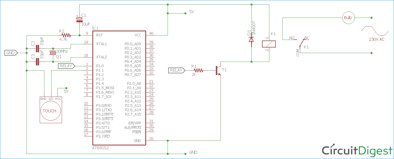 Controlling Light using Capacitive Touch Sensor and 8051