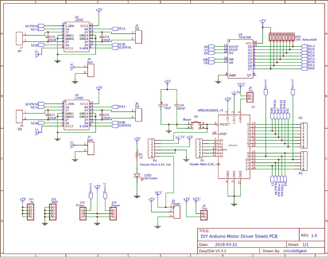 l293d motor driver circuit diagram kenwood model kdc 252u wiring diy arduino shield pcb