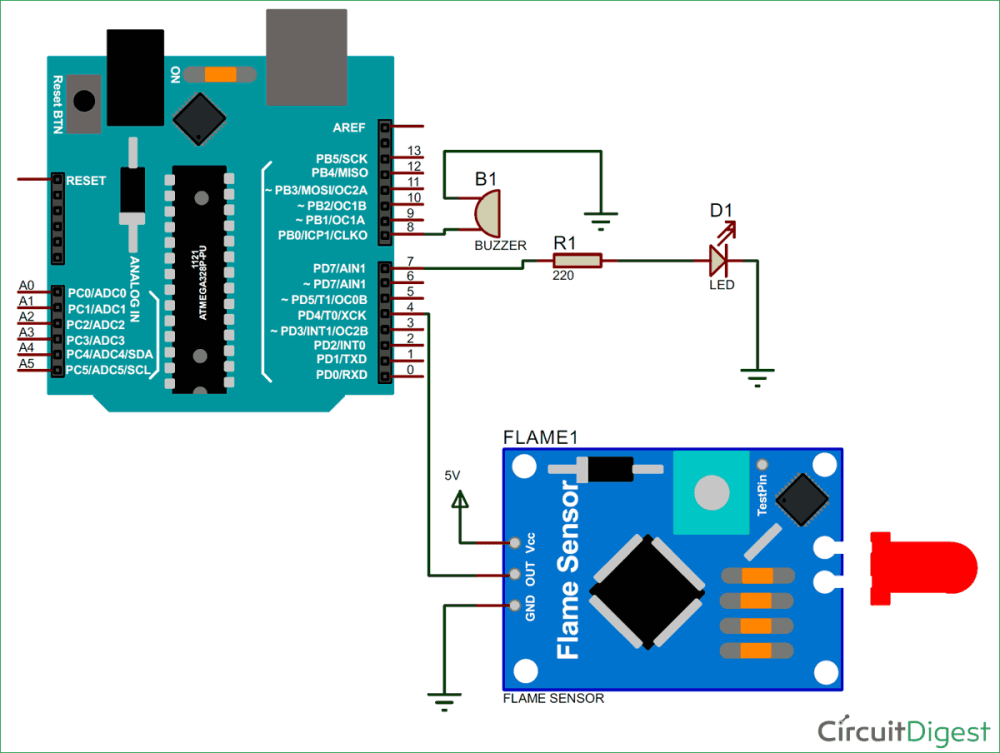 medium resolution of arduino flame sensor interfacing to build a fire alarm system flame sensor wiring diagram