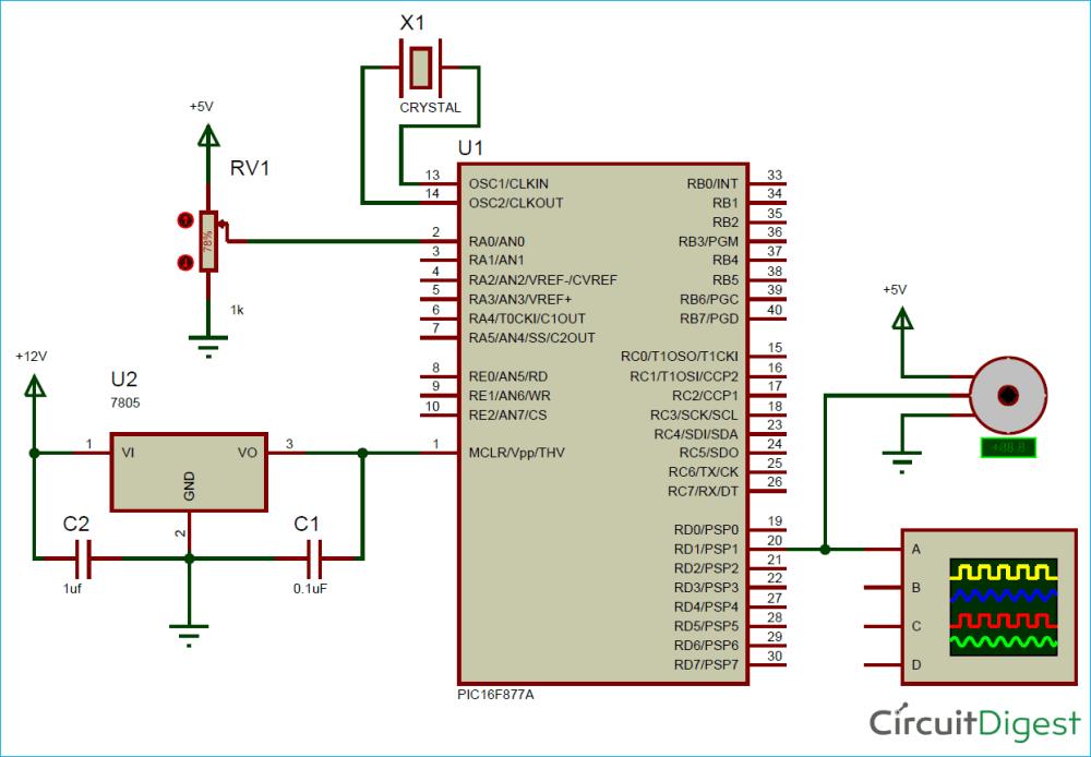 medium resolution of circuit diagram for generating pwm signals on gpio pins of pic microcontroller controlling servo motor