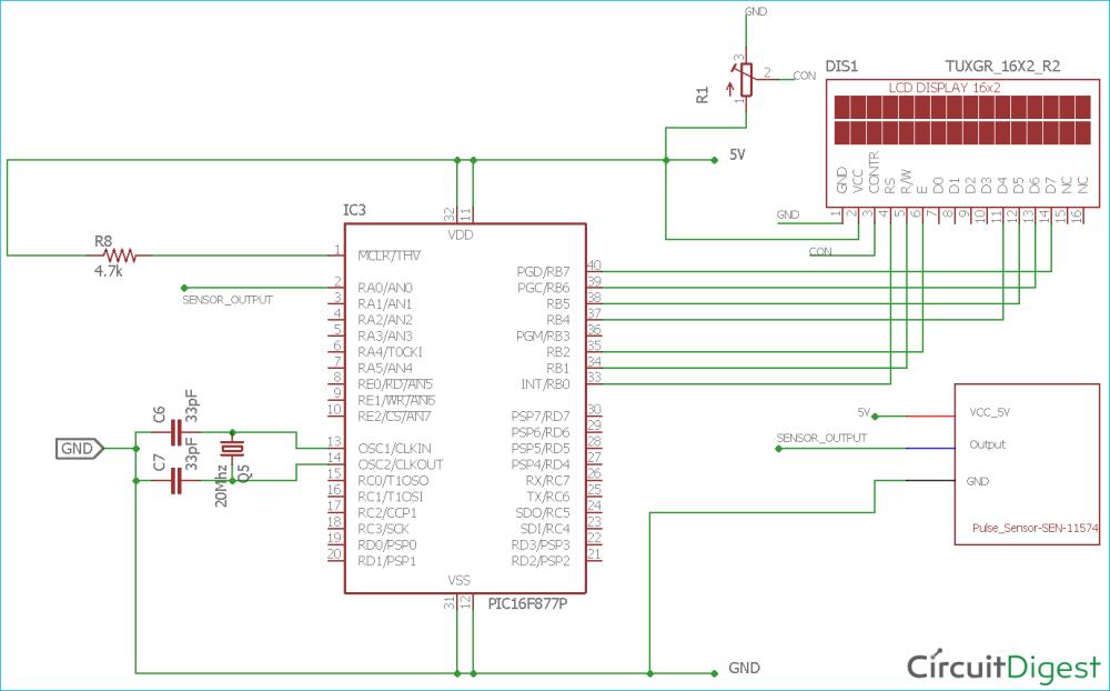 medium resolution of heart beat monitoring circuit diagram using pic microcontroller and pulse sensor