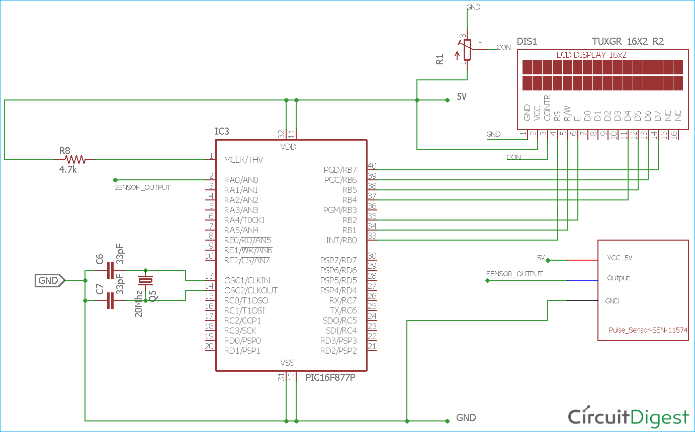 hight resolution of heart beat monitoring circuit diagram using pic microcontroller and pulse sensor