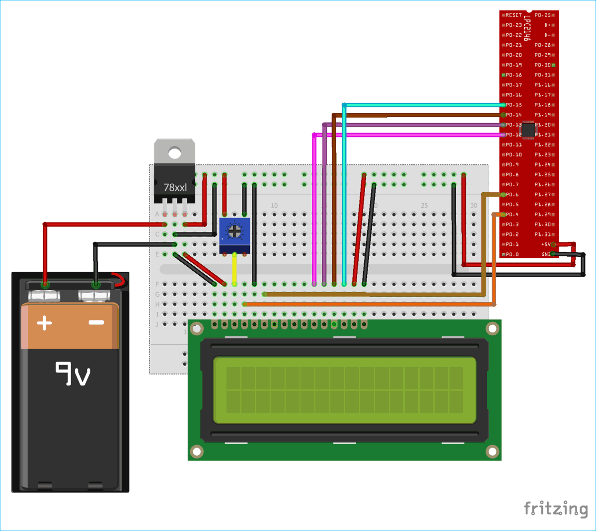 hight resolution of circuit diagram for interfacing 16x2 lcd with arm7 lpc2148 in 4 bit mode