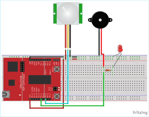 small resolution of circuit diagram for motion detector using msp430 launchpad and pir sensor