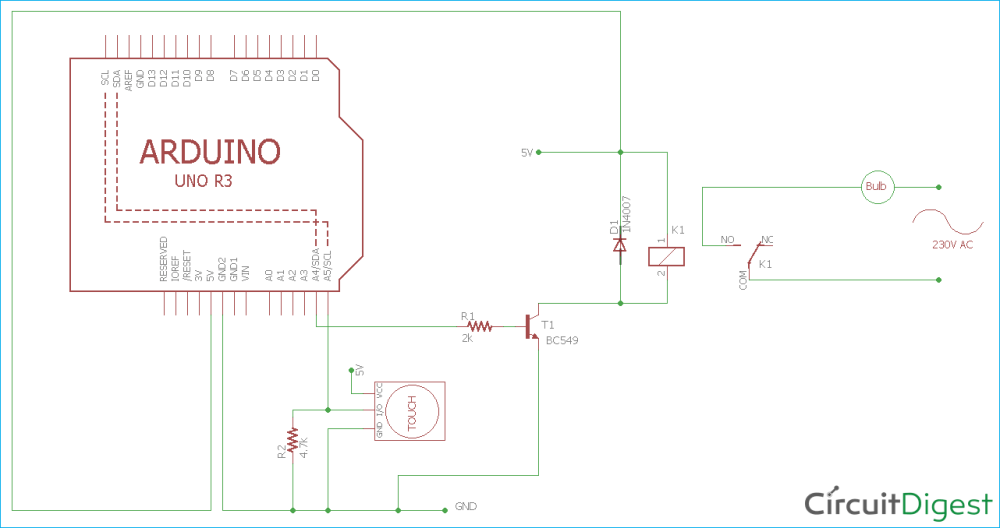 medium resolution of arduino ttp223 touch sensor circuit diagram for controlling home lights with touch