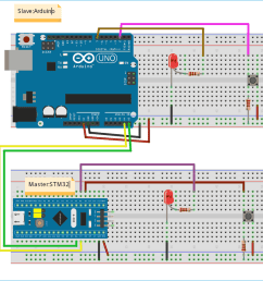 circuit diagram for using i2c communication in stm32 microcontroller [ 1200 x 899 Pixel ]