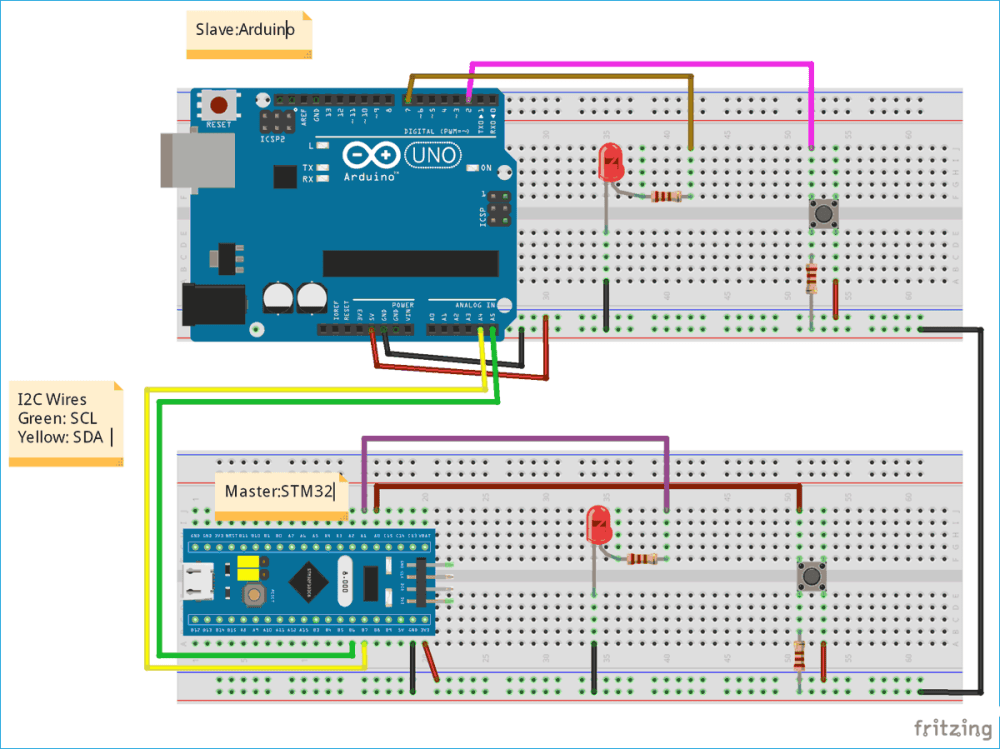medium resolution of circuit diagram for using i2c communication in stm32 microcontroller