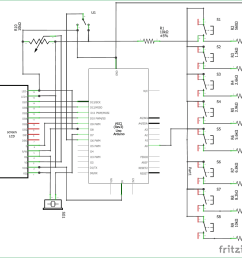 circuit diagram for arduino based piano with recording and replay [ 1098 x 1036 Pixel ]