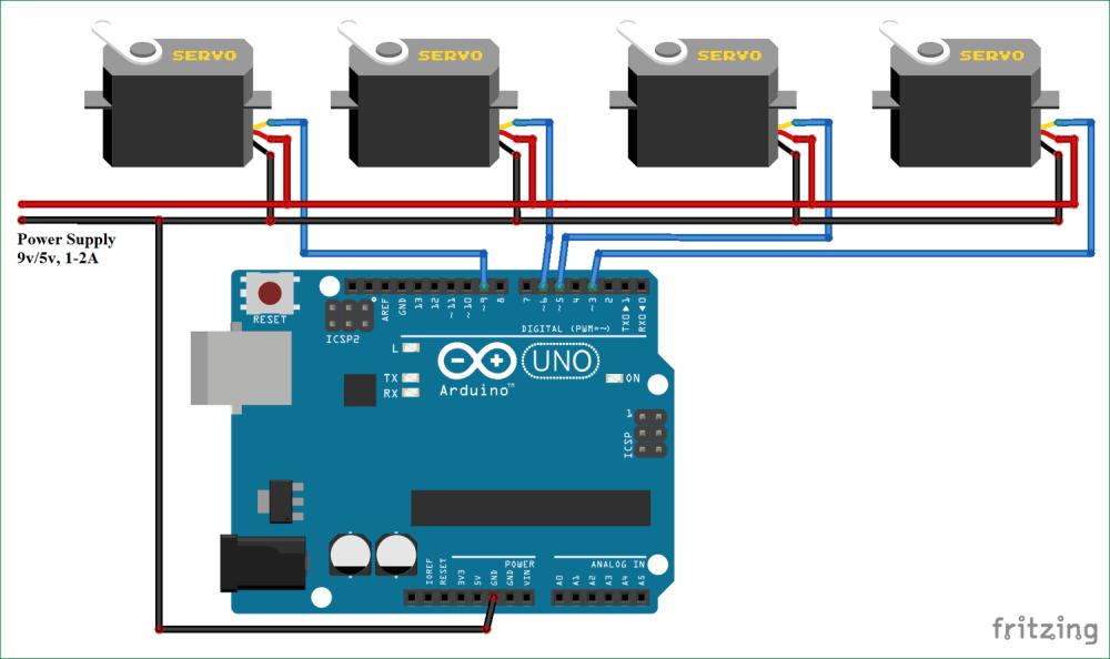 medium resolution of circuit diagram for controlling multiple servo motors with arduino