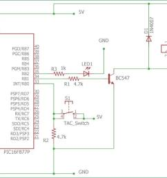 circuit diagram for interfacing relay with pic micro controller [ 1500 x 615 Pixel ]