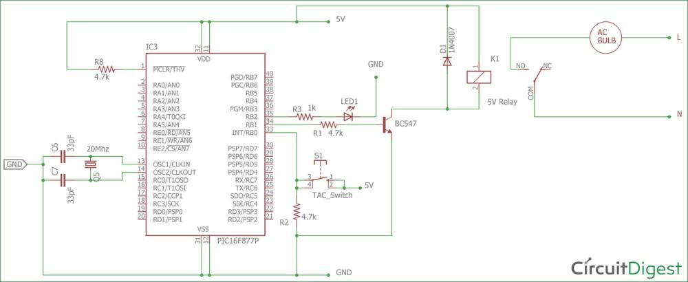 medium resolution of circuit diagram for interfacing relay with pic micro controller