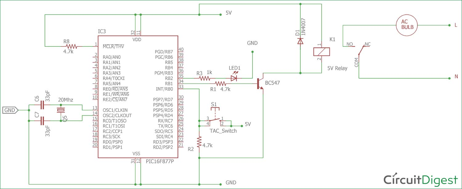 hight resolution of circuit diagram for interfacing relay with pic micro controller