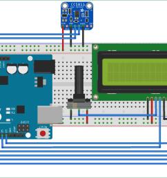 circuit diagram for tvoc and co2 measurement using arduino and ccs811 air quality sensor [ 1300 x 815 Pixel ]