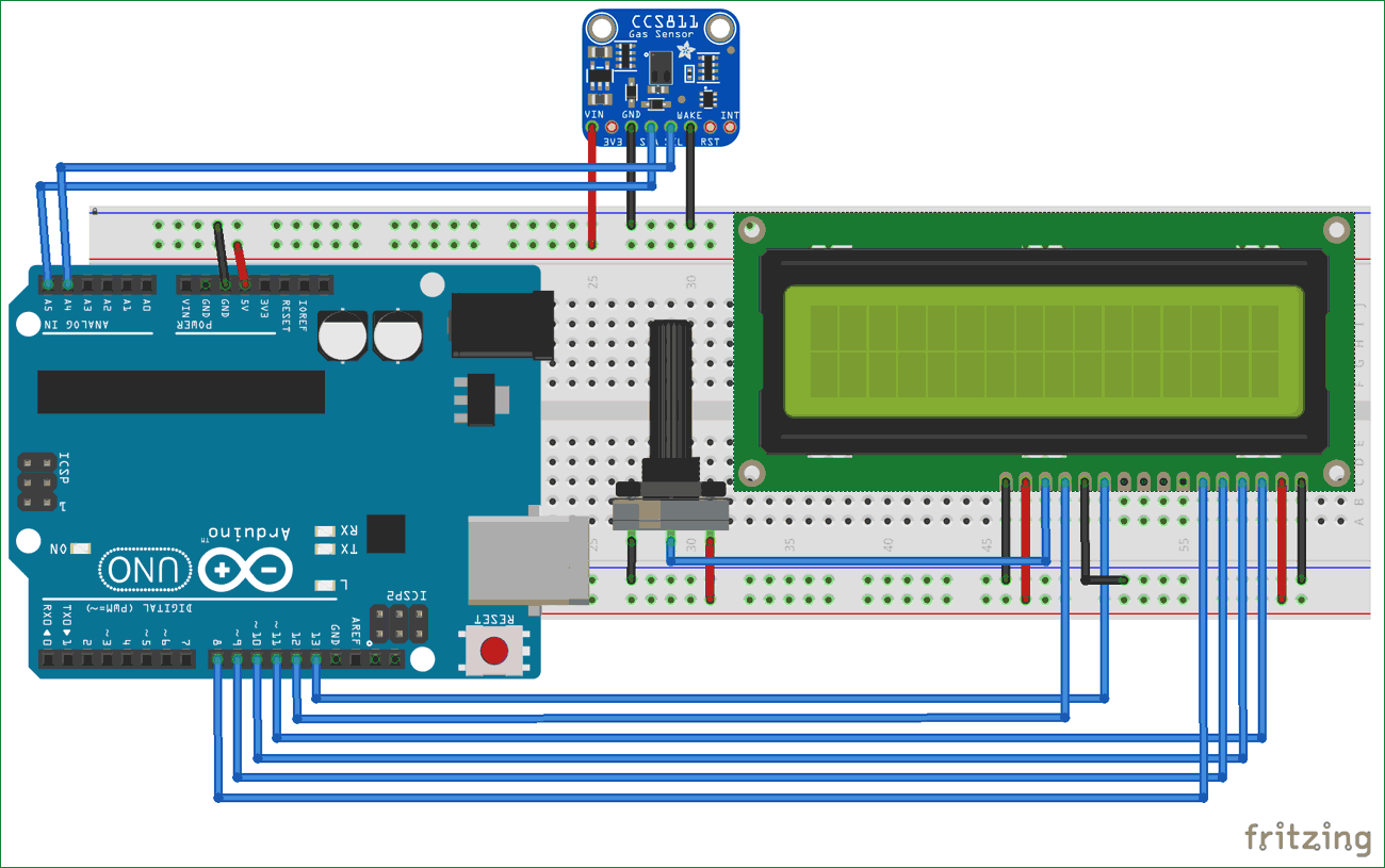 hight resolution of circuit diagram for tvoc and co2 measurement using arduino and ccs811 air quality sensor