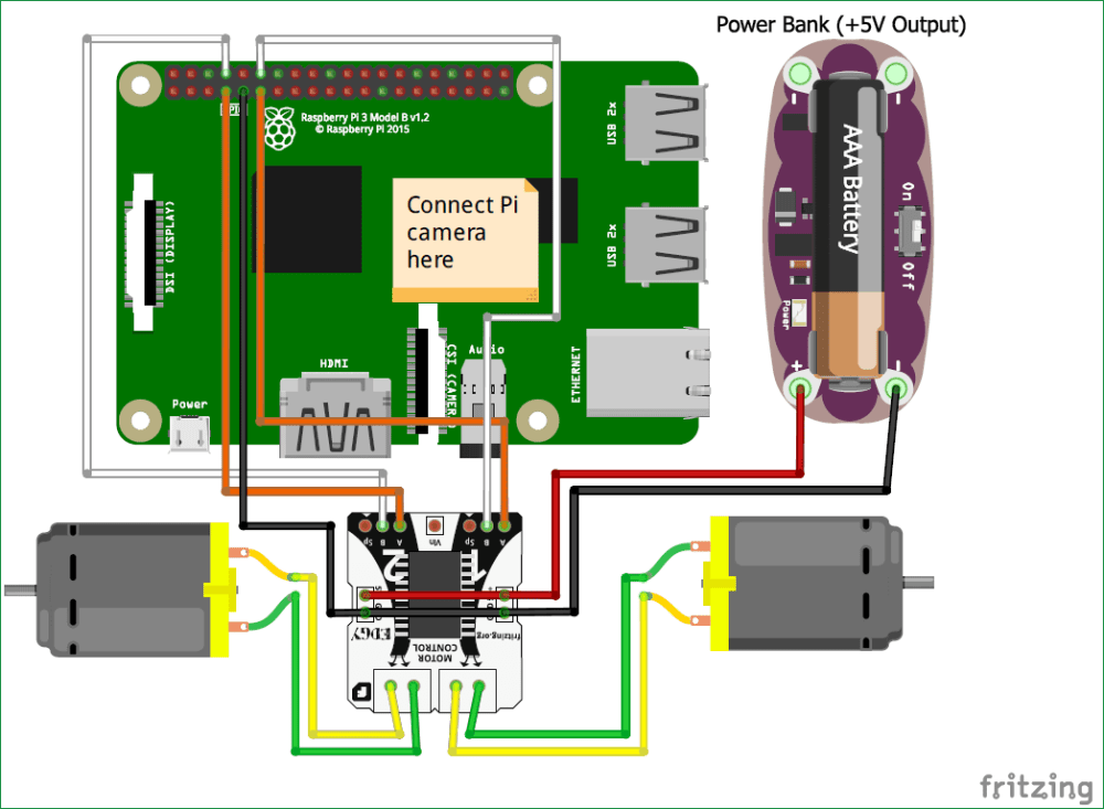 medium resolution of circuit diagram of raspberry pi ball follower robot using processing