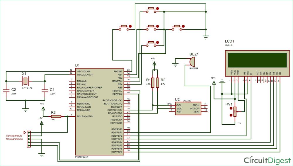 medium resolution of digital alarm clock circuit diagram using pic microcontroller
