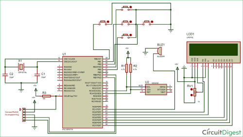small resolution of digital alarm clock circuit diagram using pic microcontroller