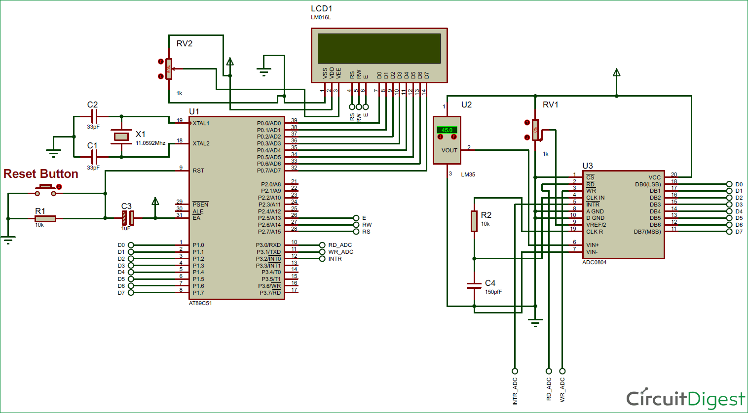 hight resolution of digital thermometer circuit diagram using lm35 and 8051