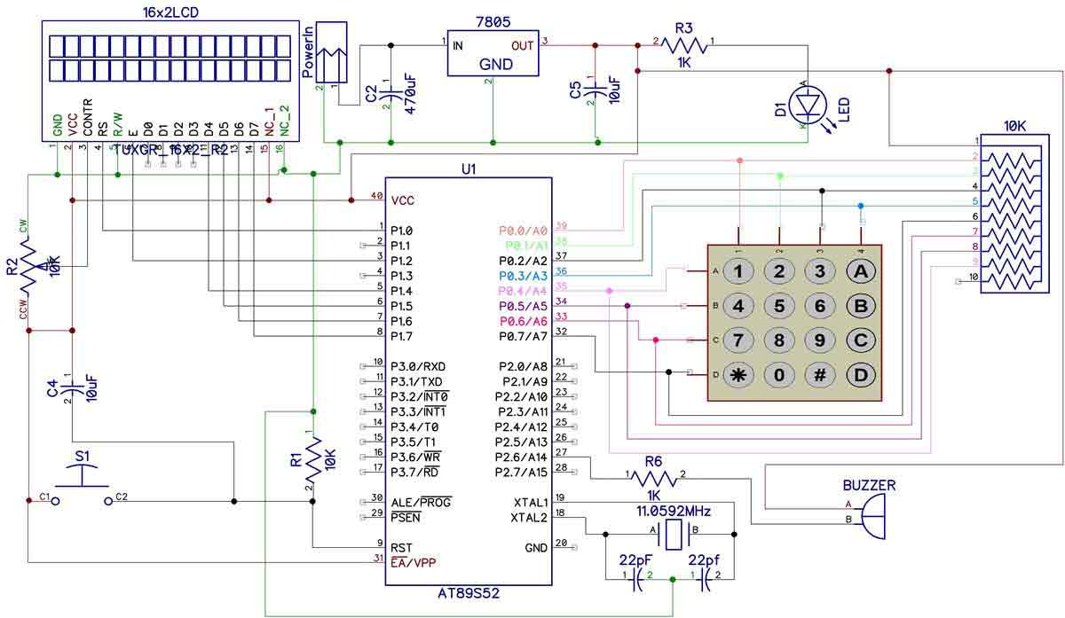 hight resolution of electronic code lock using 8051 circuit diagram