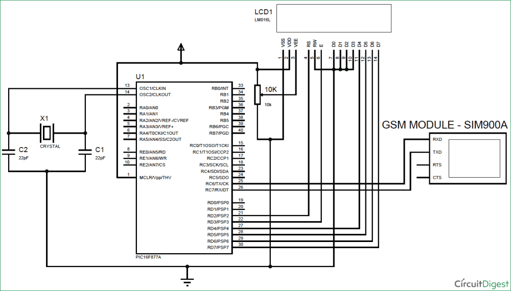 medium resolution of gsm circuit diagram wiring diagram for you gsm interfacing with pic microcontroller pic16f877a make and gsm
