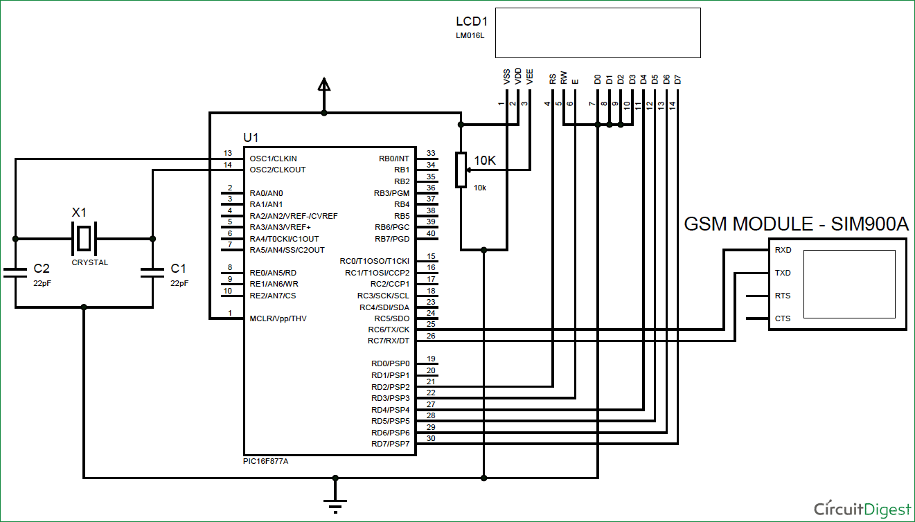 hight resolution of gsm circuit diagram wiring diagram for you gsm interfacing with pic microcontroller pic16f877a make and gsm