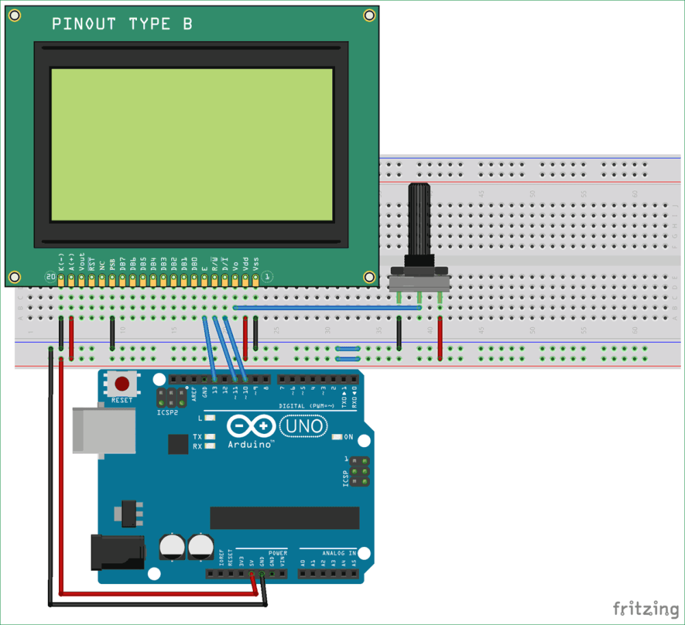 medium resolution of interfacing circuit diagram of graphical lcd with arduino