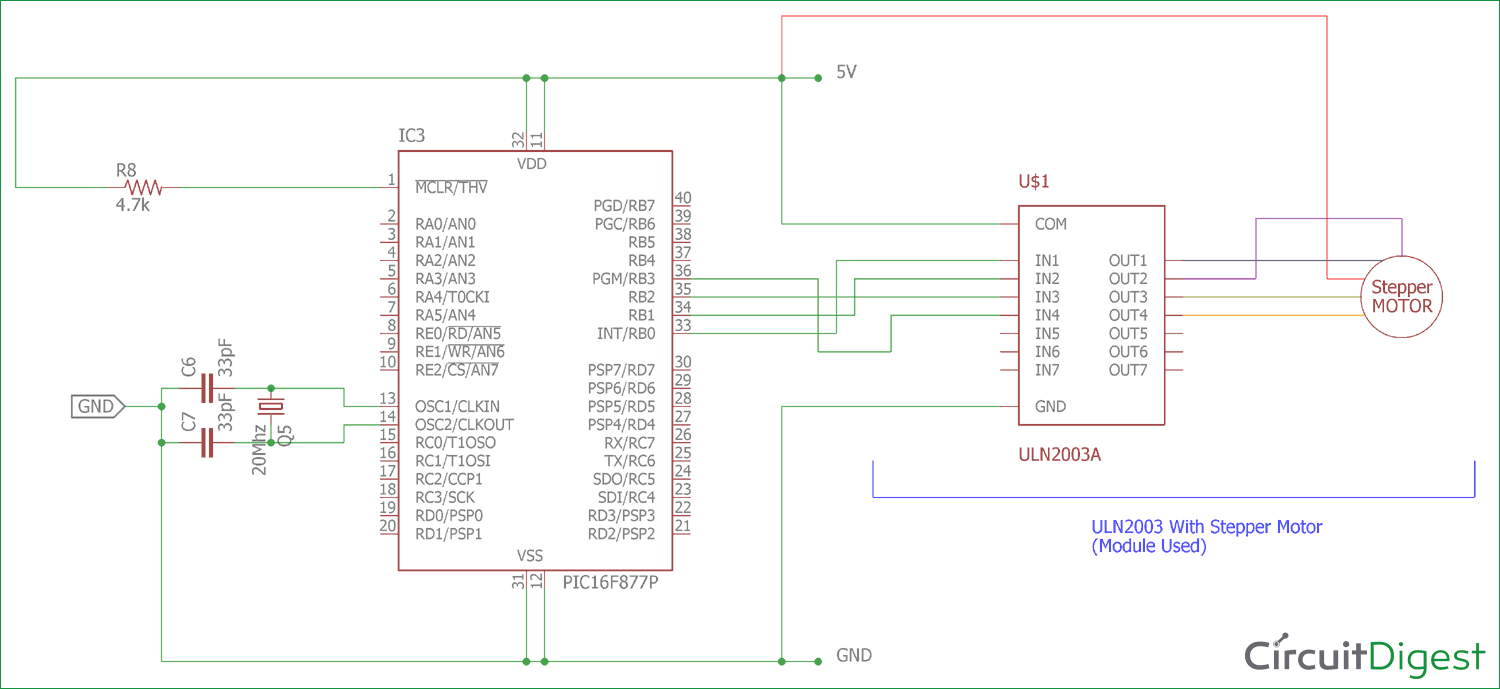 hight resolution of interfacing circuit diagram of stepper motor with pic micro controller