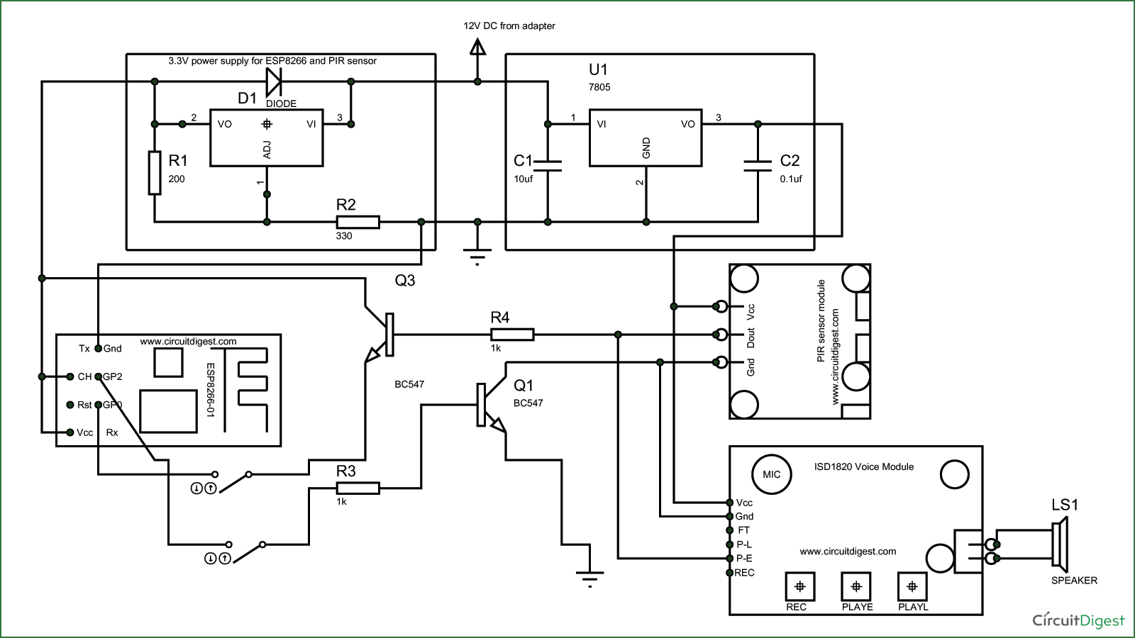 Circuit Diagram for ESP8266 Security System Project