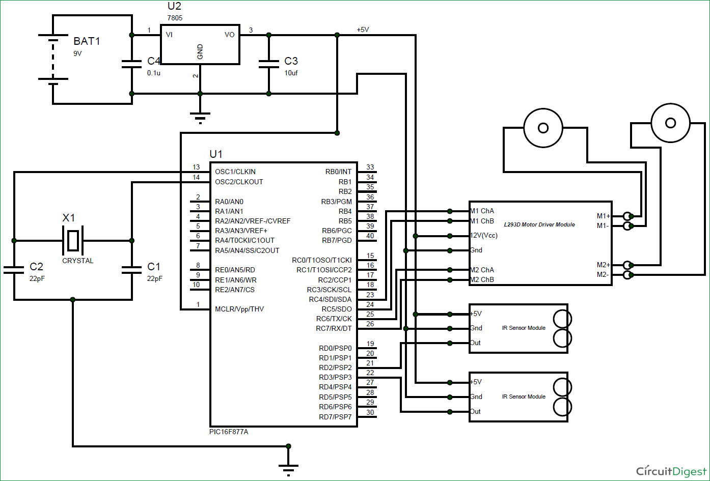 Line Follower Robot using PIC Microcontroller circuit diagram