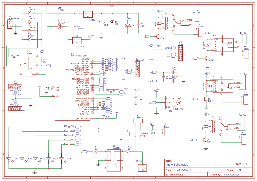 medium resolution of circuit diagram for pic microcontroller based remote controlled home automation