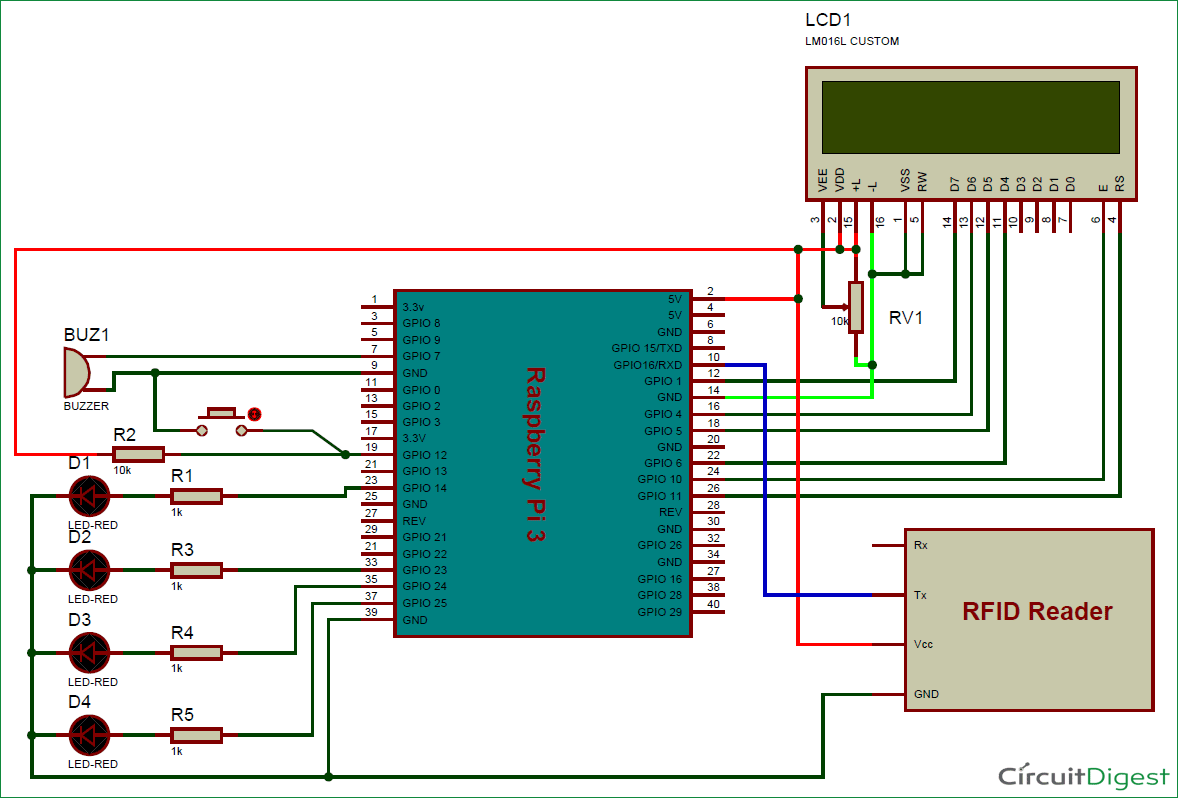 hight resolution of rfid based attendance system using raspberry pi circuit