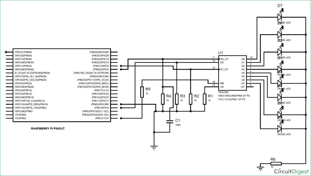 medium resolution of raspberry pi 74hc595 shift register tutorial rh circuitdigest com arduino shift register shift register d flip flop
