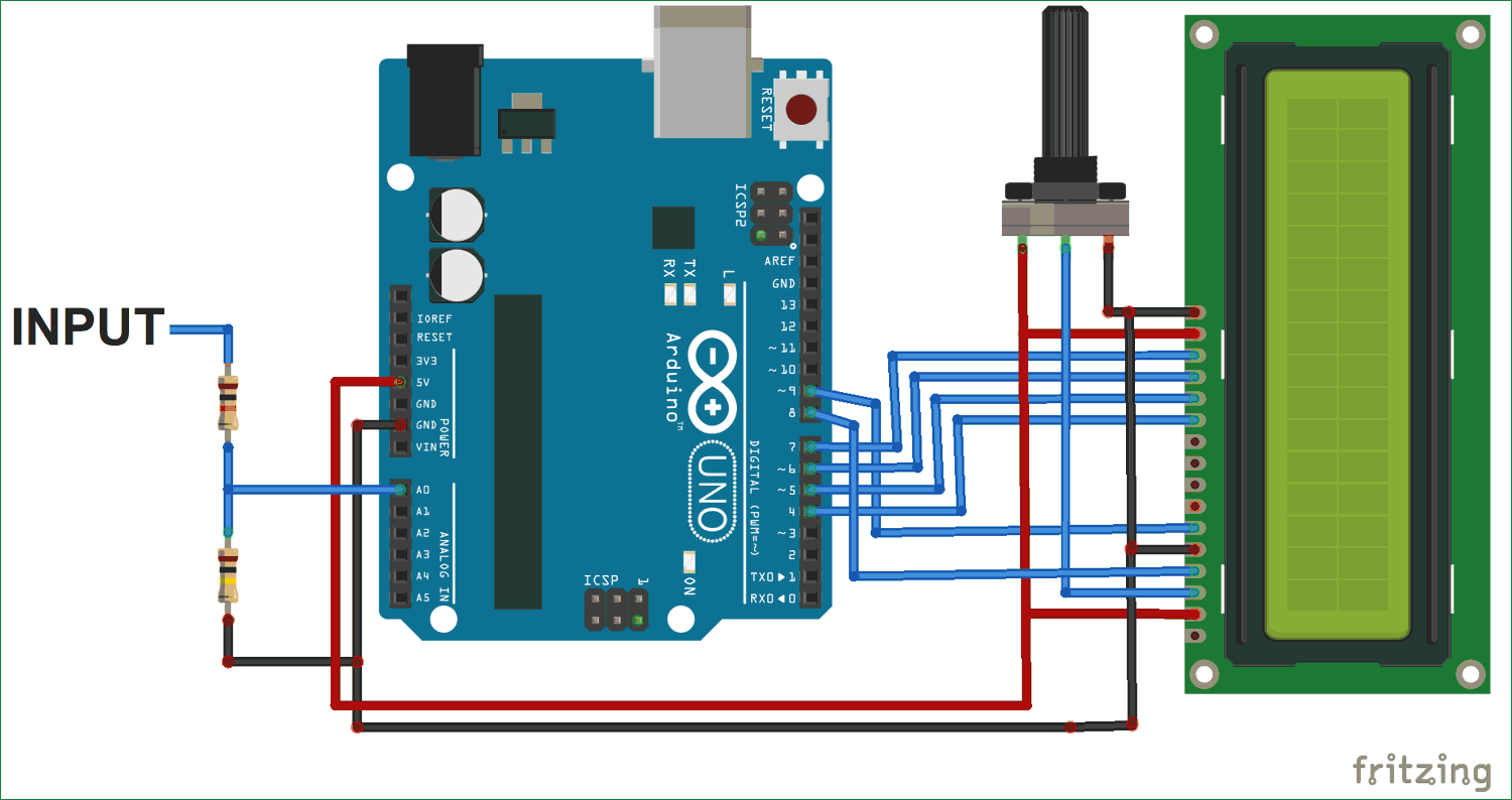 hight resolution of simple arduino digital voltmeter circuit