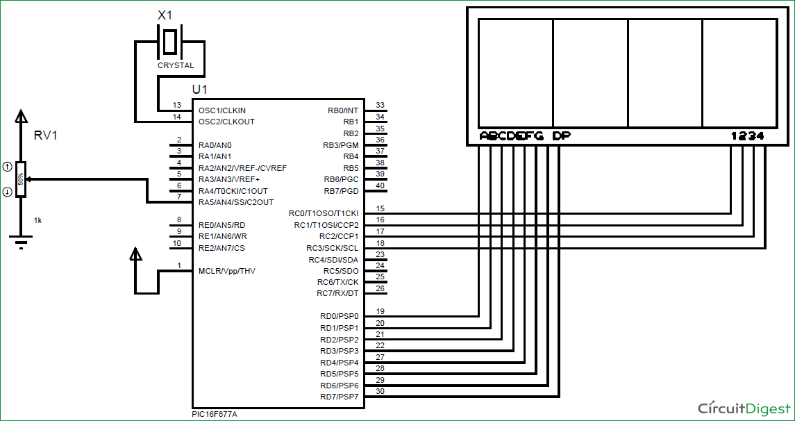 PIC microcontroller PICF877A ADC Tutorial using MPLAB and XC8