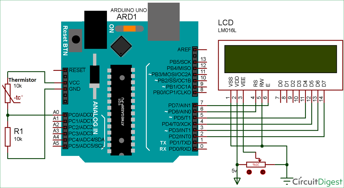 hight resolution of using thermistor with arduino for measuring temperature setup