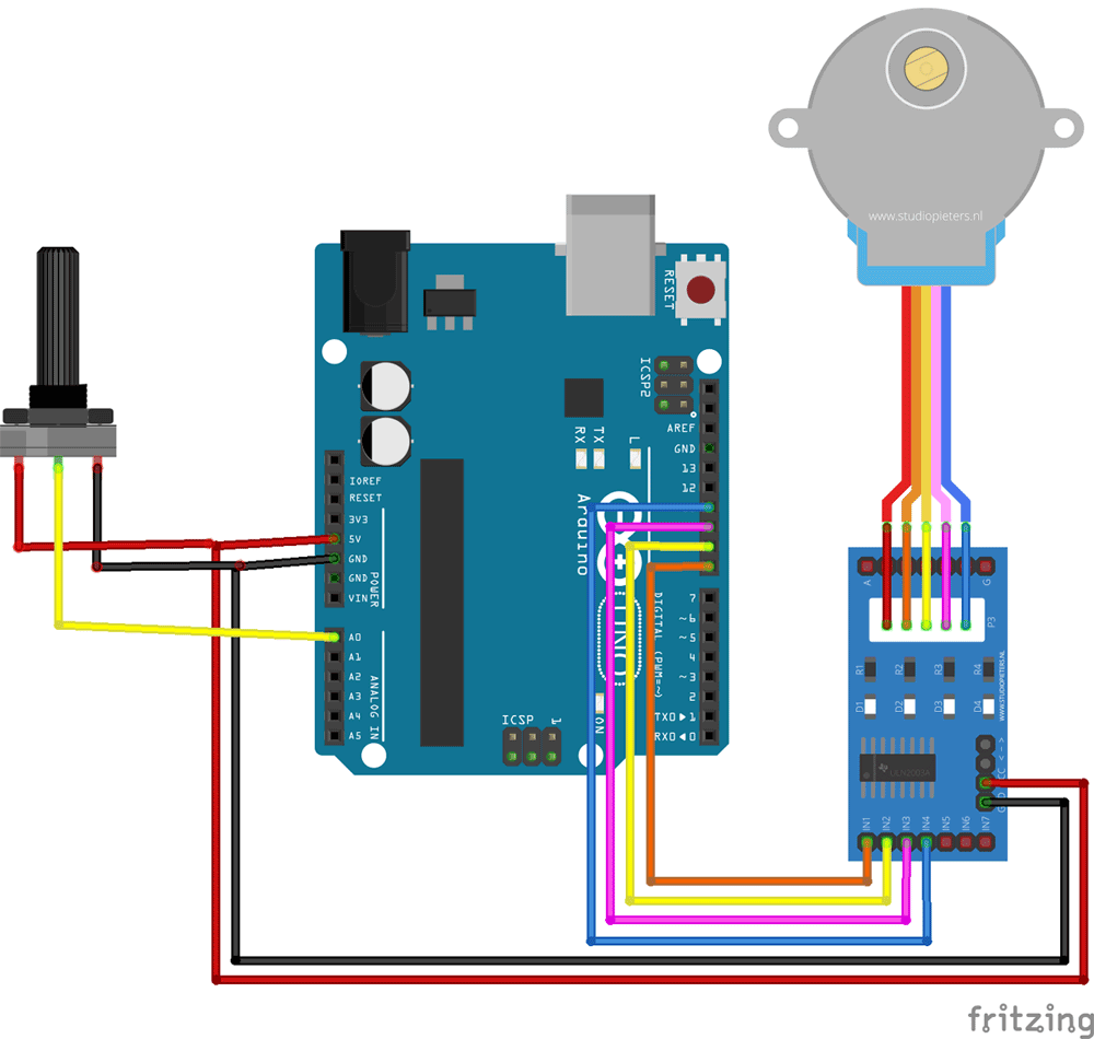 medium resolution of stepper motor control with potentiometer and arduino stepper driver diagram also 4 wire stepper motor wiring also gibson