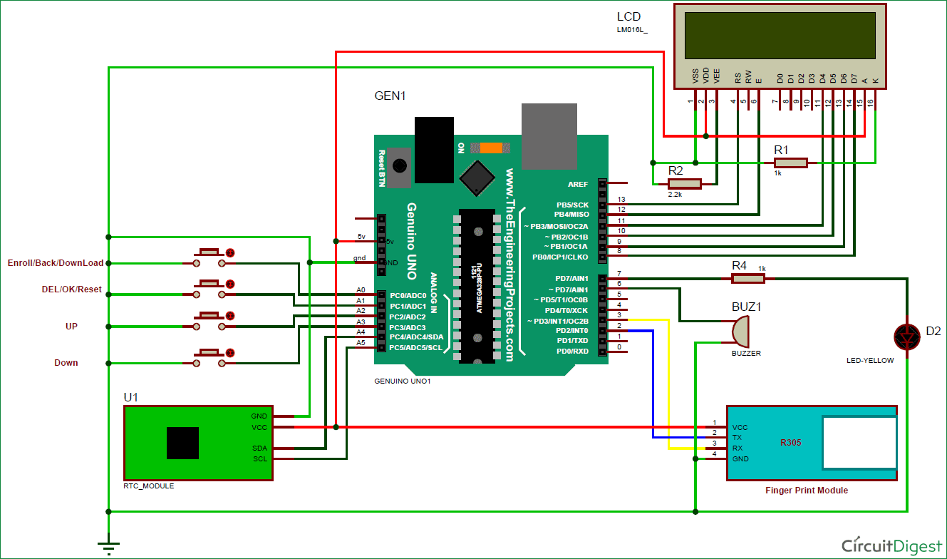hight resolution of the circuit is actually quite simple it consists of arduino pushes buttons their functions have been discussed before a buzzer for alerts
