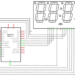 interfacing 4 digit 7 segment with raspberry pi circuit diagram [ 1236 x 974 Pixel ]