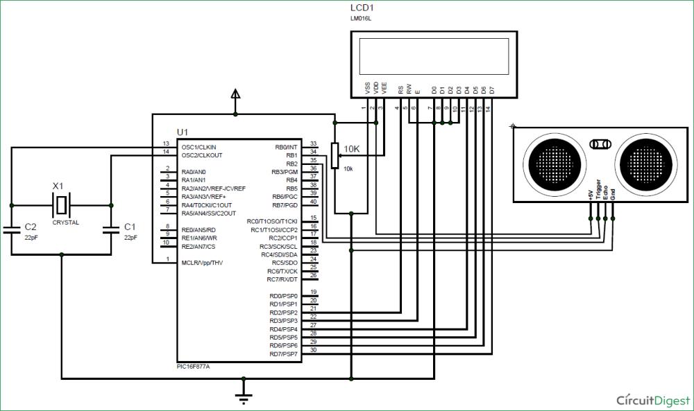 medium resolution of interfacing ultrasonic sensor hc sr04 with pic microcontroller the circuit diagram tentative programme 1 count and display circuit