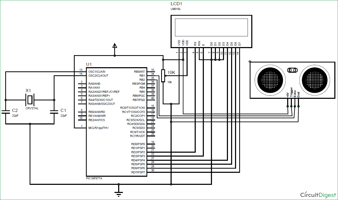 hight resolution of interfacing ultrasonic sensor hc sr04 with pic microcontroller the circuit diagram tentative programme 1 count and display circuit