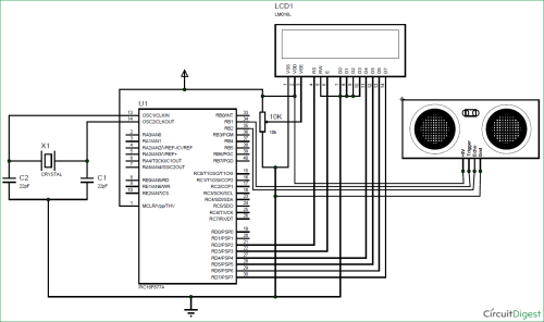 small resolution of interfacing ultrasonic sensor hc sr04 with pic microcontroller the circuit diagram tentative programme 1 count and display circuit