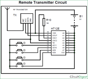 RF Transmitter and Receiver Circuit Diagram